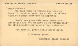 Garcelon Stamp Company, Calais, Maine