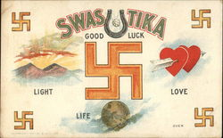 Swastika symbol depicts Love Life Light and Good Luck
