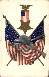 U.S. Cavalry Hat, Weapons, and Flags