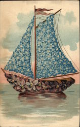 Sailboat Made of Violets and Forget-Me-Nots