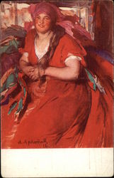 A. Archipoff's Painting of Woman in Red Dress