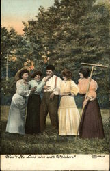 Four Ladies Fawning Over a Man Postcard