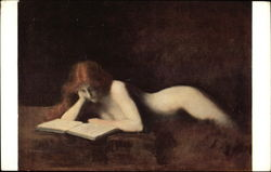 Red-Headed Nude Woman Reading a Book