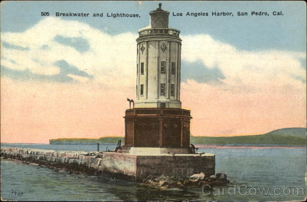 Breakwater and Lighthouse, Los Angeles Harbor San Pedro California