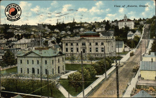 Post Office, Court House and High School Astoria Oregon