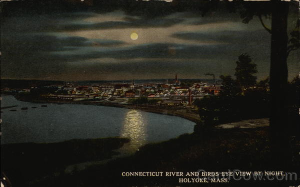 Connecticut River and Birds Eye View by Night Holyoke Massachusetts