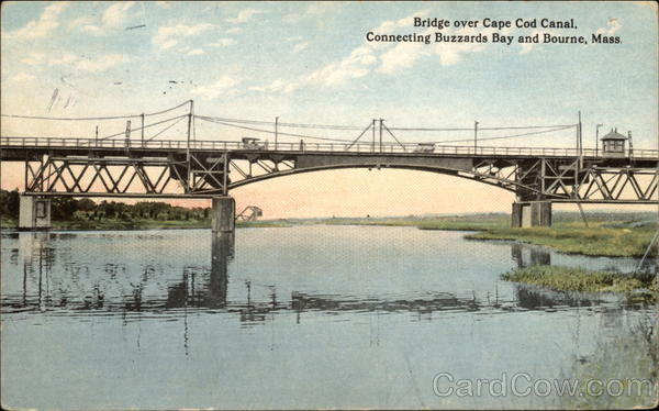 Bridge Over Cape Cod Canal, Connecting Buzzards Bay and Bourne, Mass Massachusetts