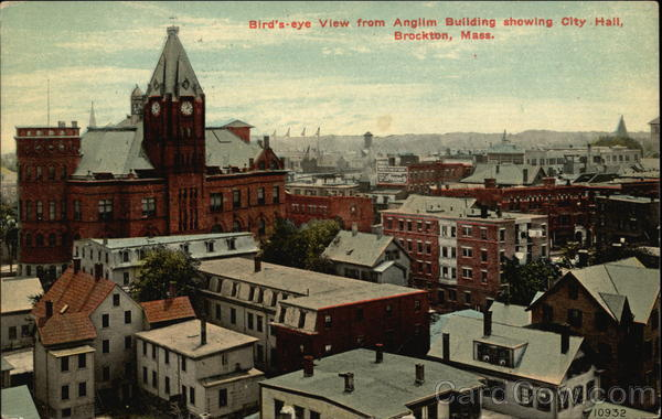 Bird's-eye View from Anglim Building showing City Hall Brockton Massachusetts