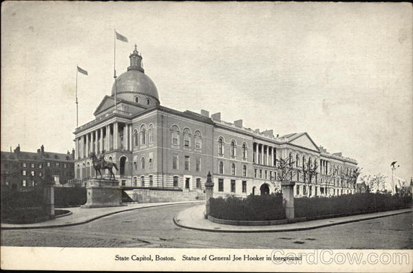 State Capitol and Statue of General Joe Hooker Boston Massachusetts