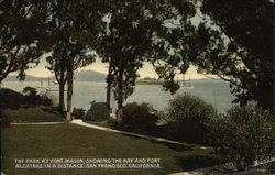 The Park at Fort Mason, Showing the Bay an dFort Alcatraz in a Distance