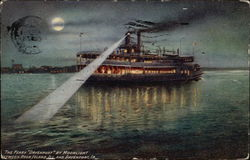 "The Ferry ""Davenport"" By Moonlight Between Rock Island and Davenport"