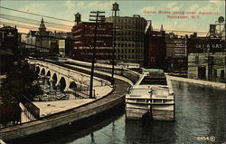 Canal Boats going over Aqueduct Postcard