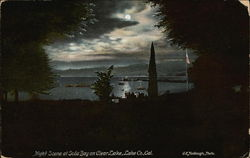 Night Scene at Sod Bay on Clear Lake Postcard