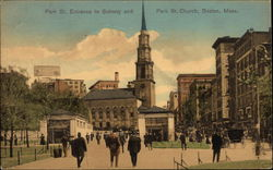 Park St. Entrance to Subway and Park St. Church