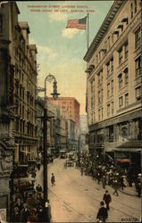 Washington Street Looking North, Adams House on Left Postcard