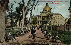 Boston Common showing State House
