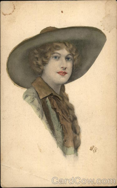 Woman Wearing a Broad-brimmed Hat Cowboy Western