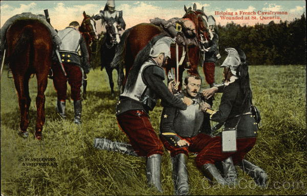 Helping a French Cavalryman Wounded at St. Quentin