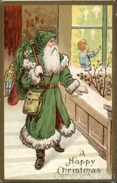 A Happy Christmas - Santa in Green Robe Santa Claus