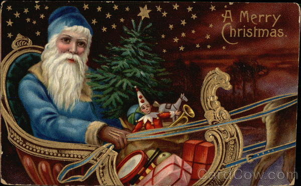Blue Robed Santa in Sled with Toys Santa Claus
