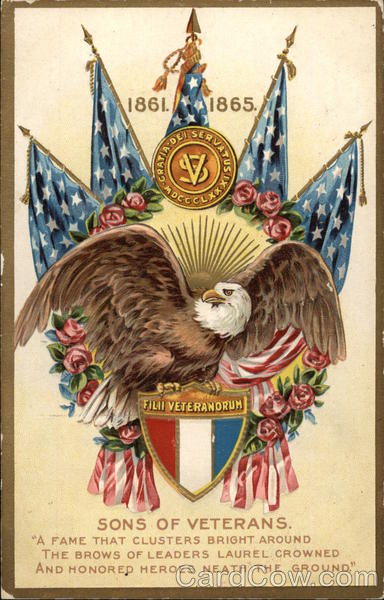 1861-1865 Sons of Veterans with Eagle & Flags Patriotic