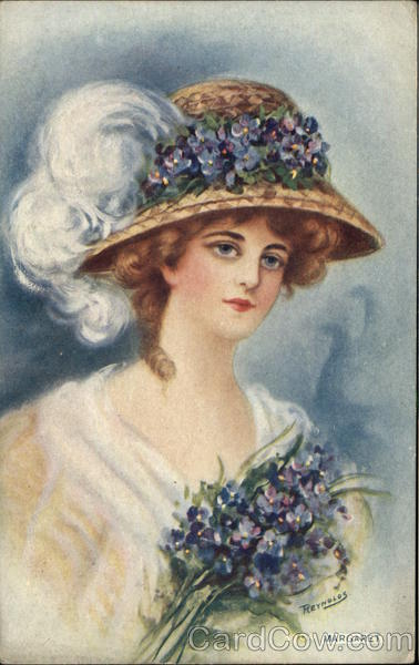 Woman Wears Fancy Hat, With Lilacs Advertising