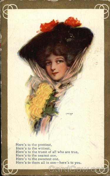 Here's to You with Woman in Black Hat & Flowers Women