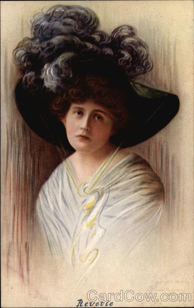 Revetie - Woman in Black Hat with Feather Plumes