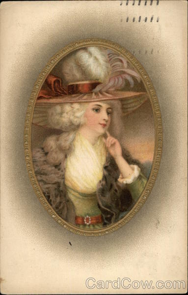 Portrait of Woman in Large Hat with Feather Plumes