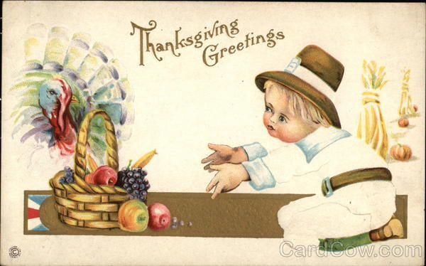 Thanksgiving Greetings with Turkey and Child Children