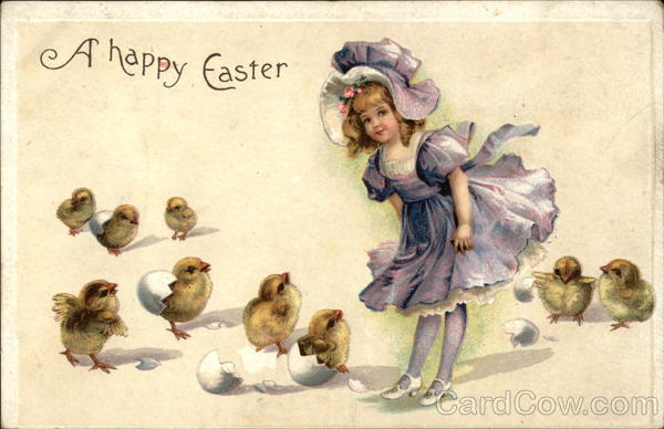 A Happy Easter with Girl & Chicks With Children