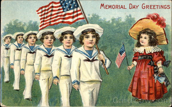Memorial Day Greetings with Flags & Children Patriotic