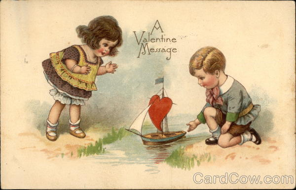 A Valentine Message with Children & Sailboat