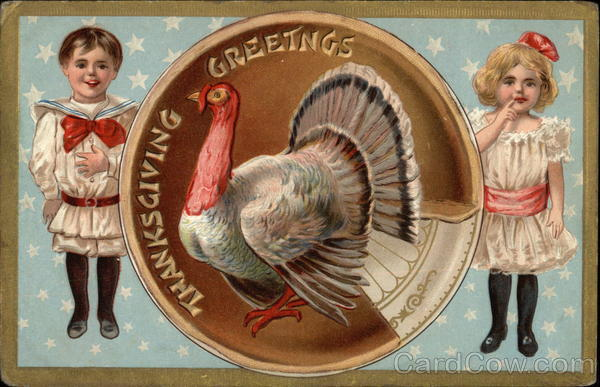Thanksgiving Greetings with Turkey and Children
