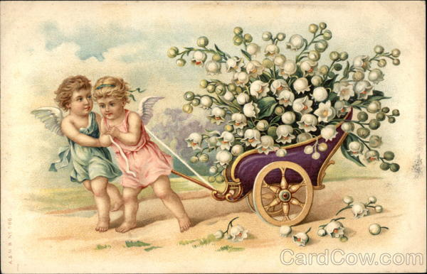 Two Angels Pulling Wagon Full of Lilies of the Valley