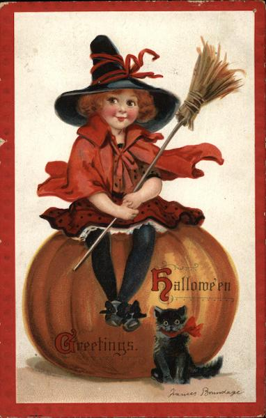 Halloween Greetings with Witch, Pumpkin, and Cat Frances Brundage