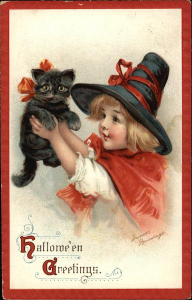 Halloween Greetings with Black Cat & Child Frances Brundage
