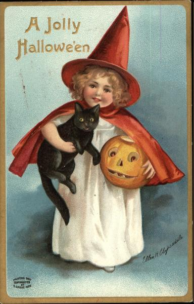 Girl Holding a Black Cat and Pumpkin Ellen Clapsaddle
