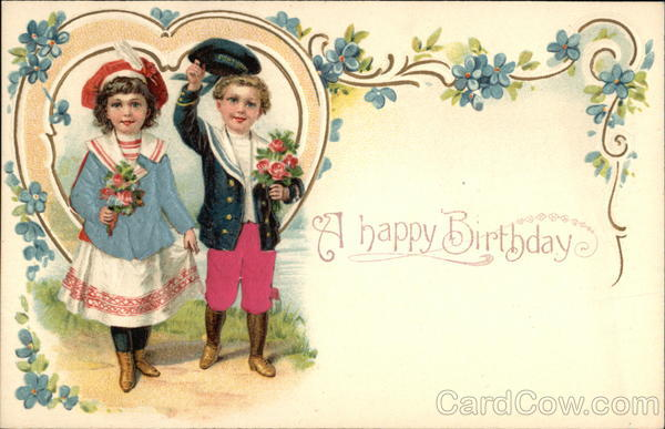 A Happy Birthday with Heart, Flowers, & Children Silk & Fabric Applique