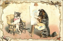 Cat Poses For Portrait Being Painted By a Dog