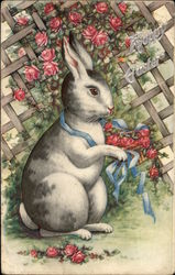 A Happy Easter with Bunny & Flowers