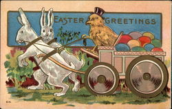 Easter Greetings with Bunnies, Chick, & Eggs