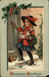Christmas Greetings with Young Girl & Holly Postcard