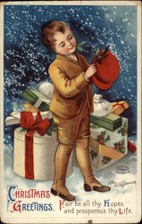 Christmas Greetings with Boy & Packages