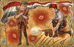 Boys shooting fireworks