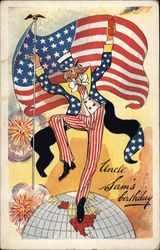 Uncle Sam's Birthday with Flag & Fireworks