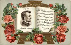 Abraham Lincoln 1809-1865 with Roses & Quote Postcard