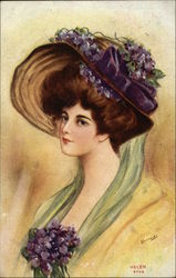 """Helen"" - Woman Wearing Bonnet with Violets Postcard"