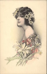 """My Ideal"" - Woman with flowers Postcard"