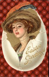 Easter Greetings with Woman & Egg